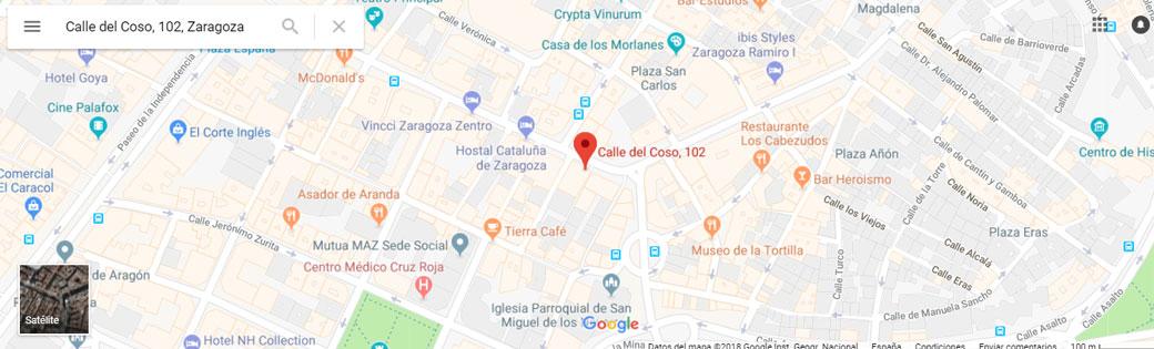 Localización despacho abogada Lola Ballestín en Zaragoza