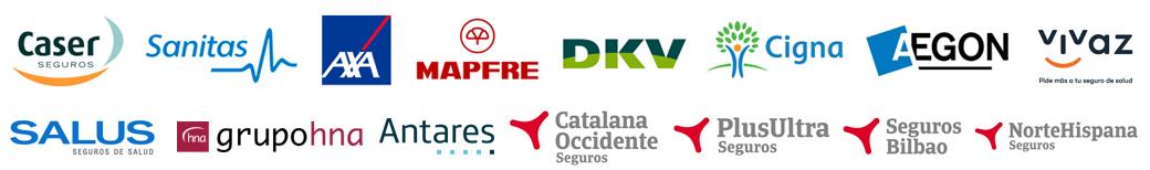 Acuerdos de nuestra clínica con  compañías de seguros (Axa, DKV, Cigna, Sanitas, Mapfre, Caser, CoSalud , Grupo Hna, Antares